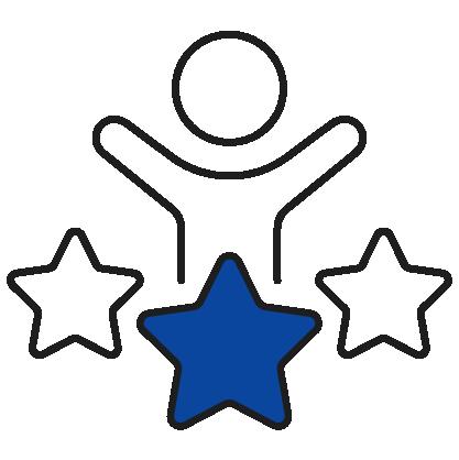 Happy employee earning stars icon