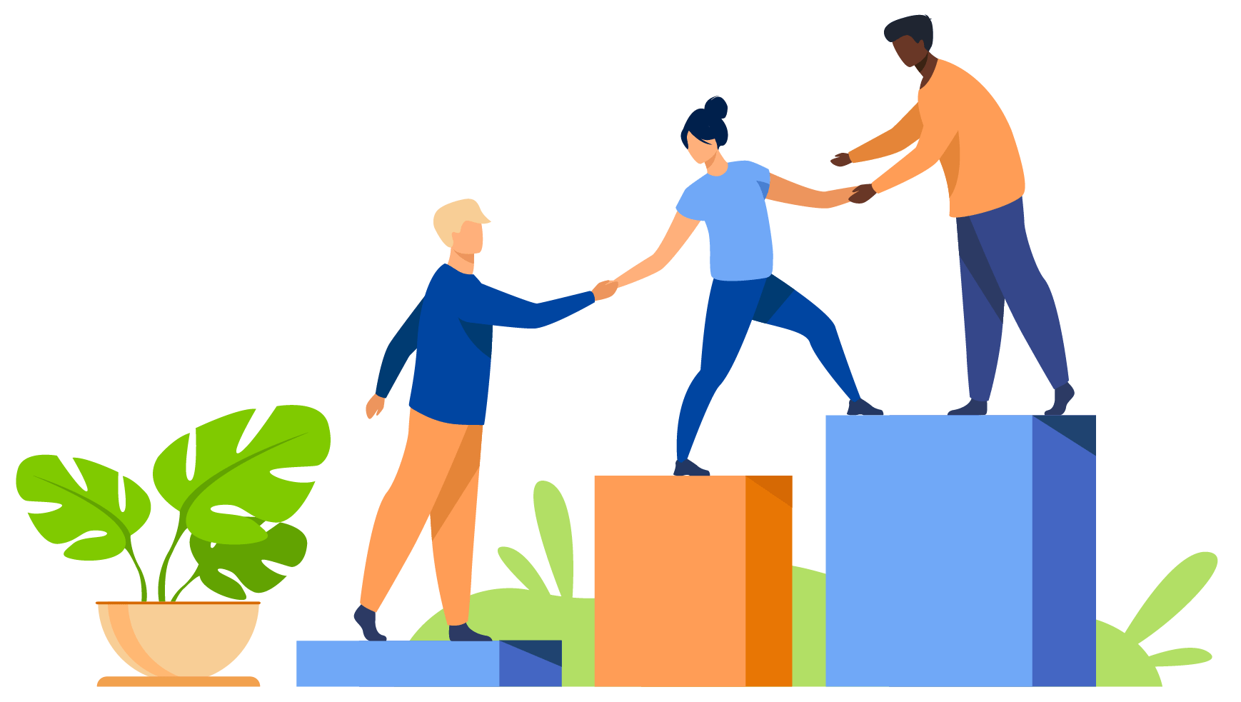 Individuals helping eachother to succeed illustration