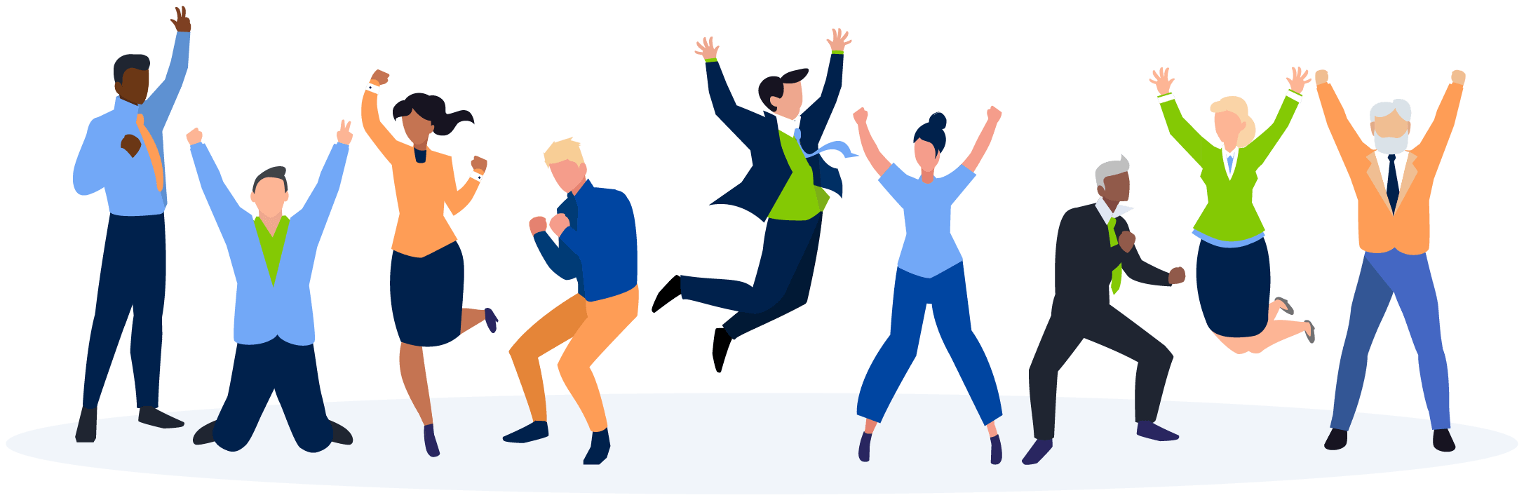 Happy group of employees illustration