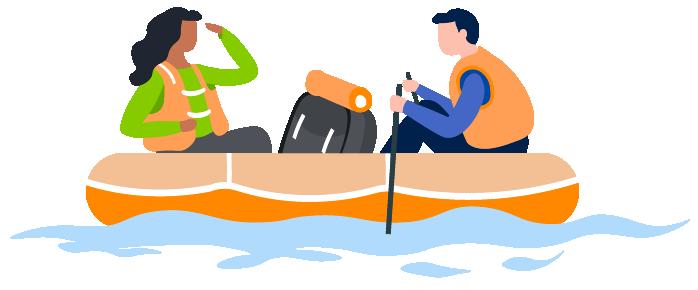 people canoeing illustration