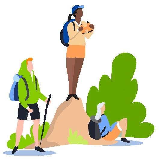people hiking illustration
