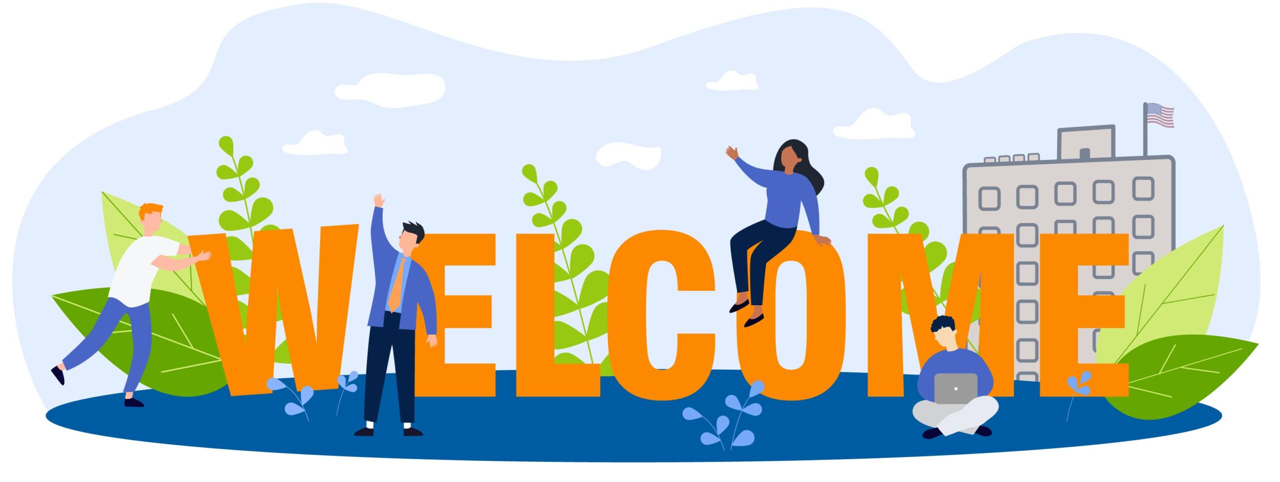 Illustration of people welcoming you