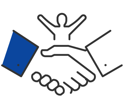 Sucess shaking hands icon