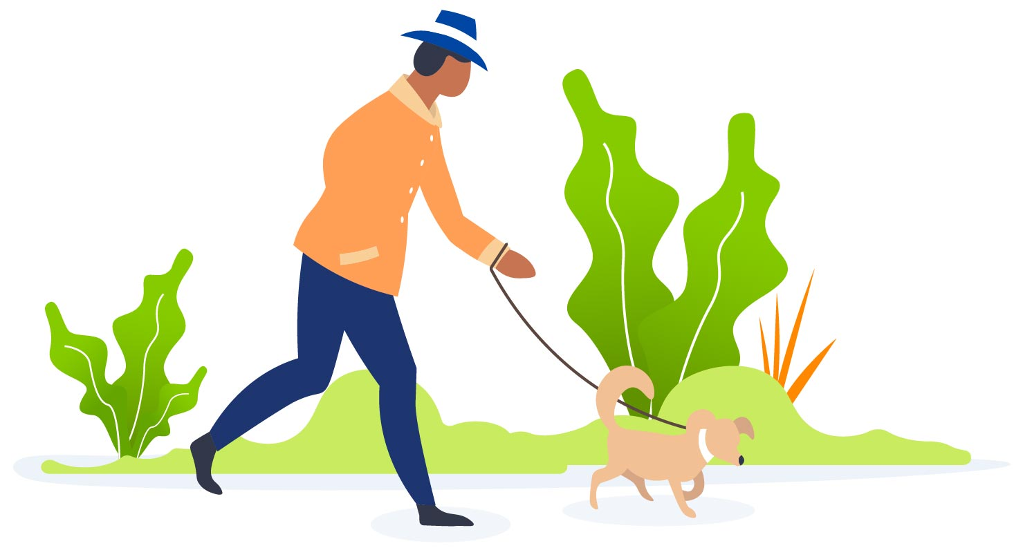 Person walking dog in park