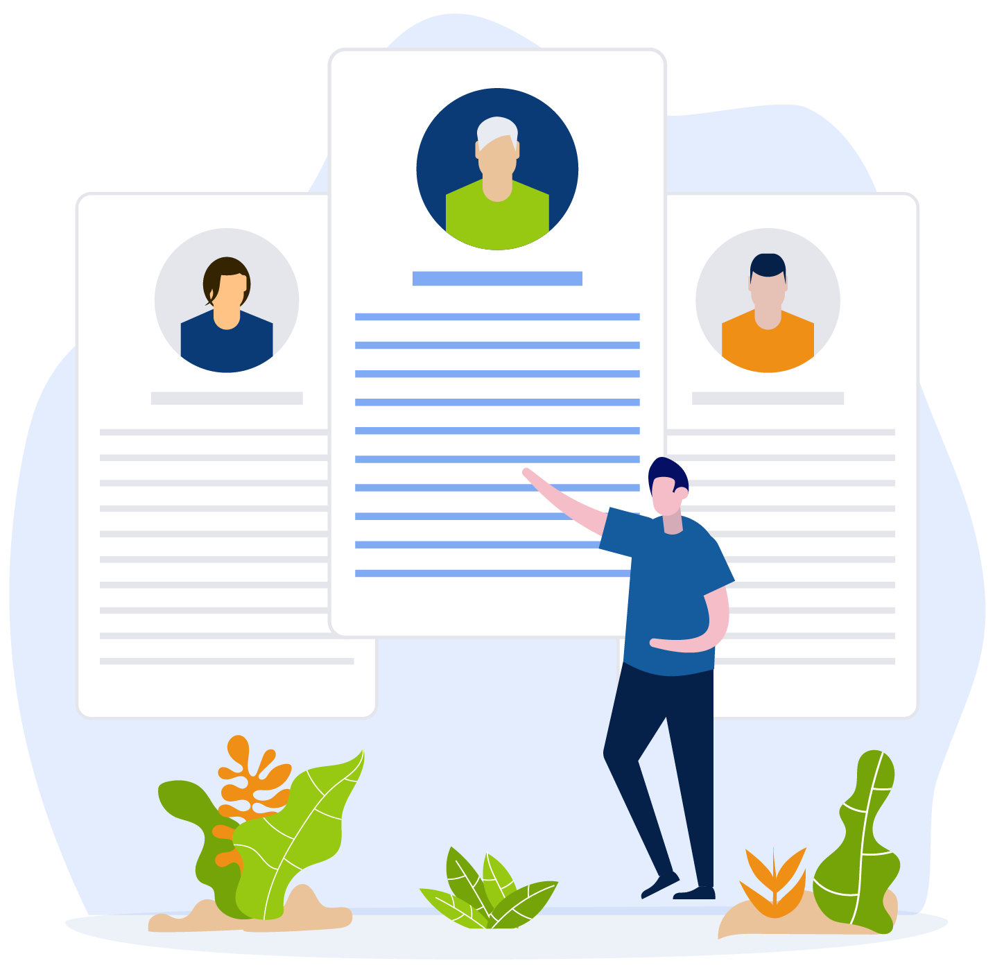 work professionals in meeting illustration