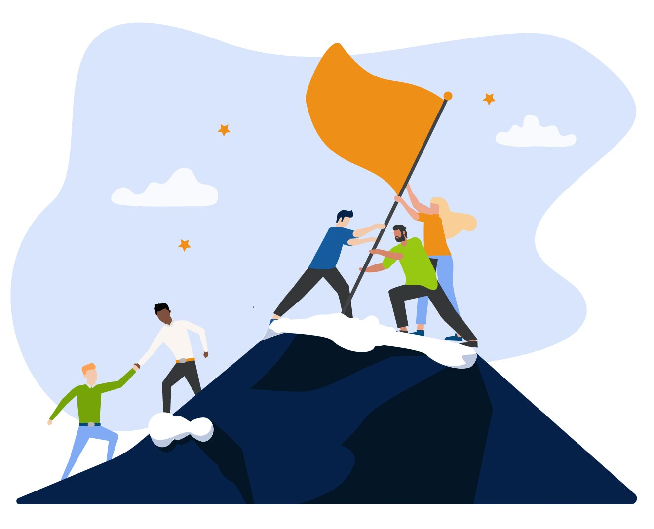 Business people helping eachother get to top of mountain