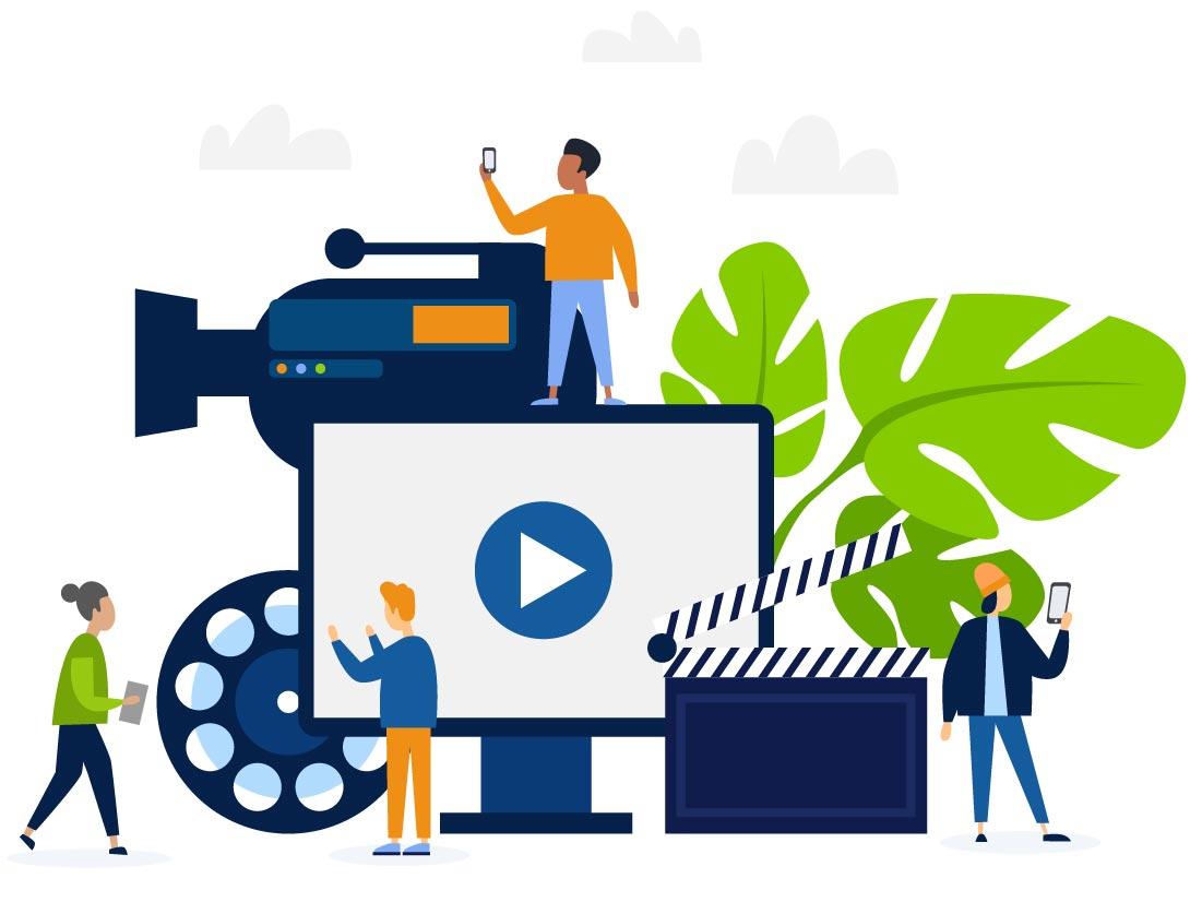 People creating custom video