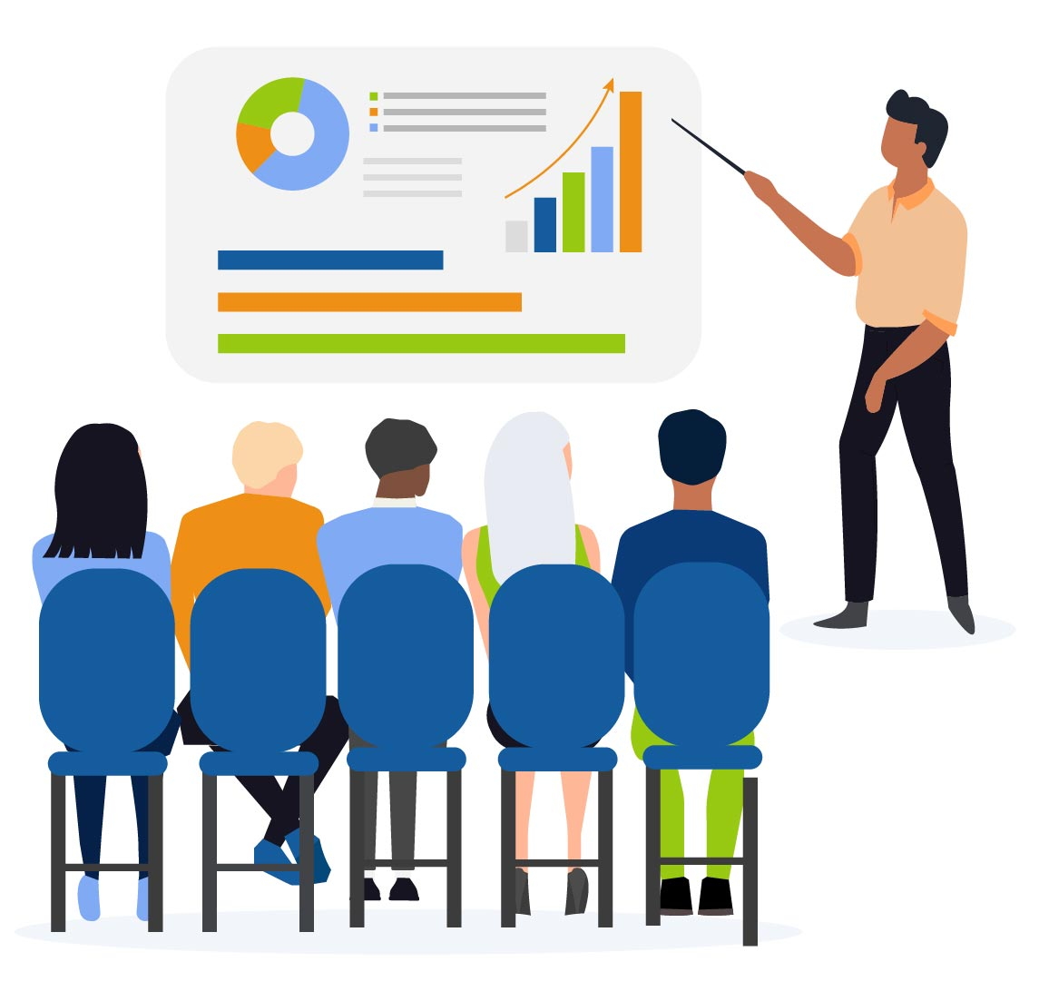Person giving presentation to group of employees