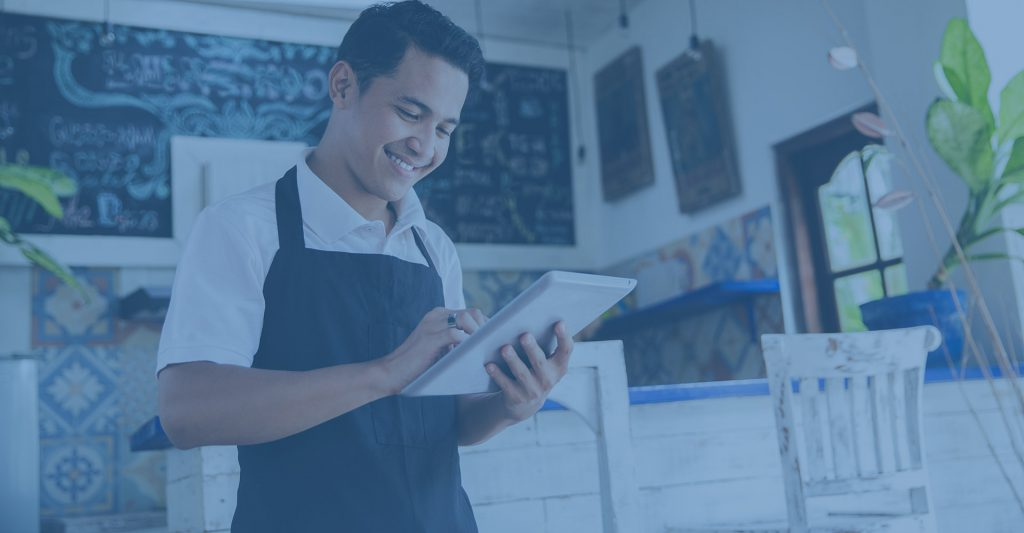 Small business owner on ipad