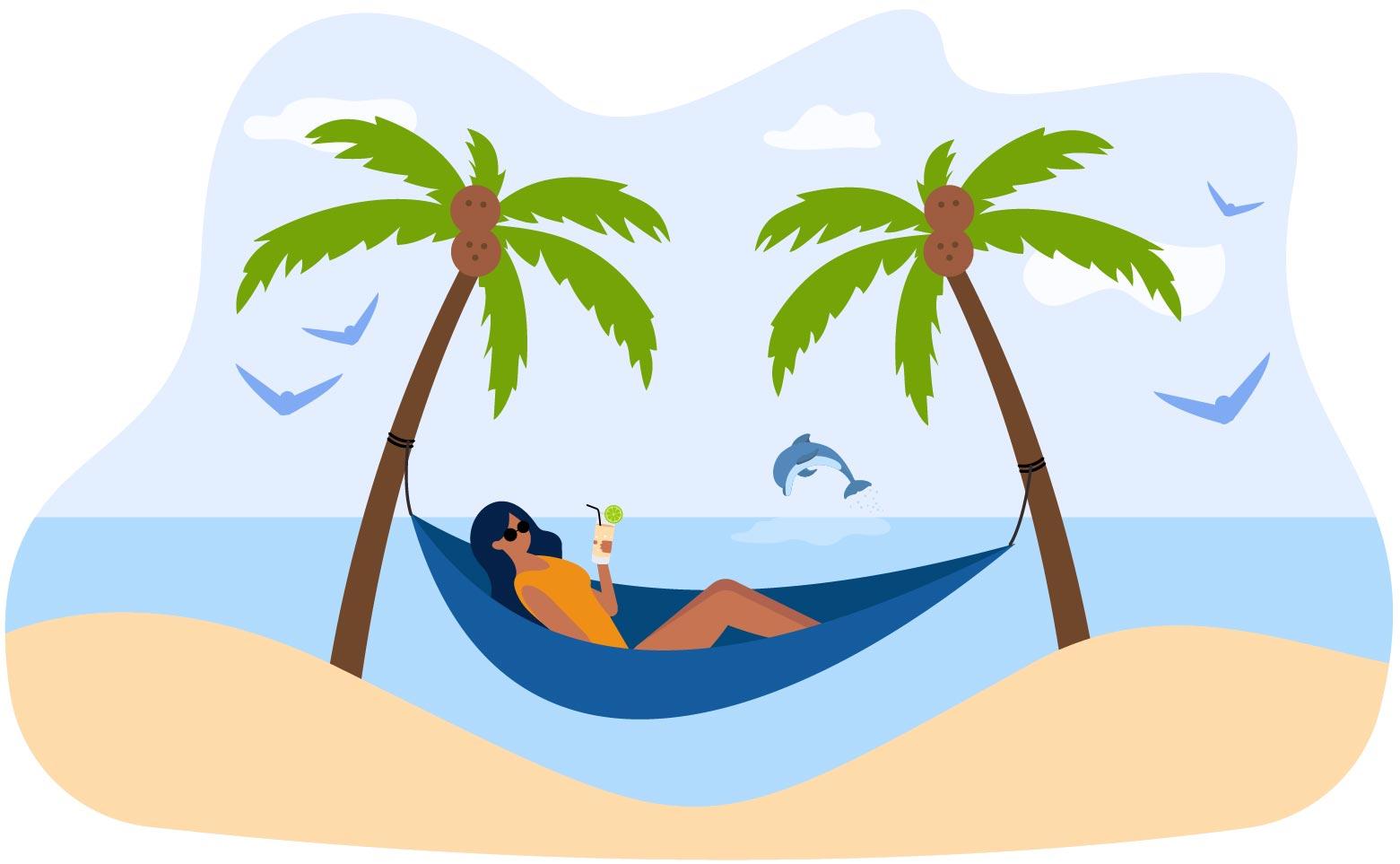 Woman on vacation in hammock